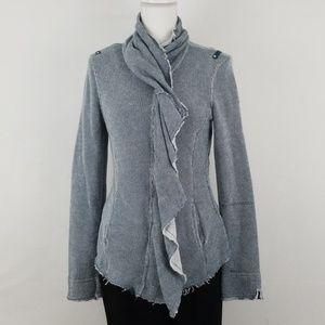 Blanc Noir Ruffle fringe full zip sweater